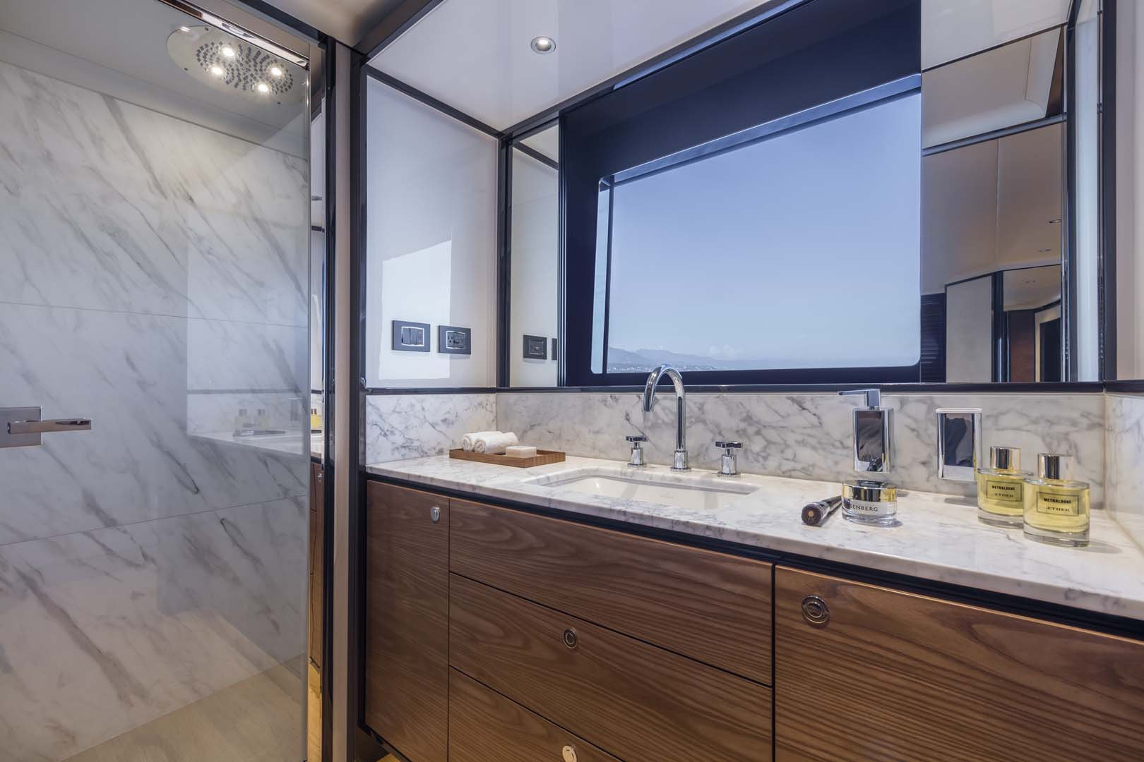 Hullside window on the absolute navetta 68