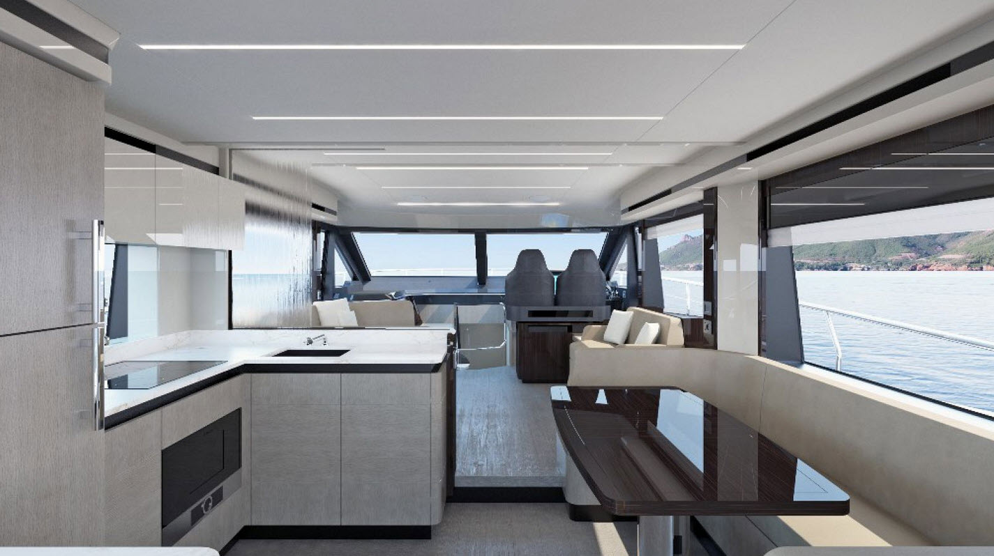 interior of absolute yachts 62 flybridge with empirbus