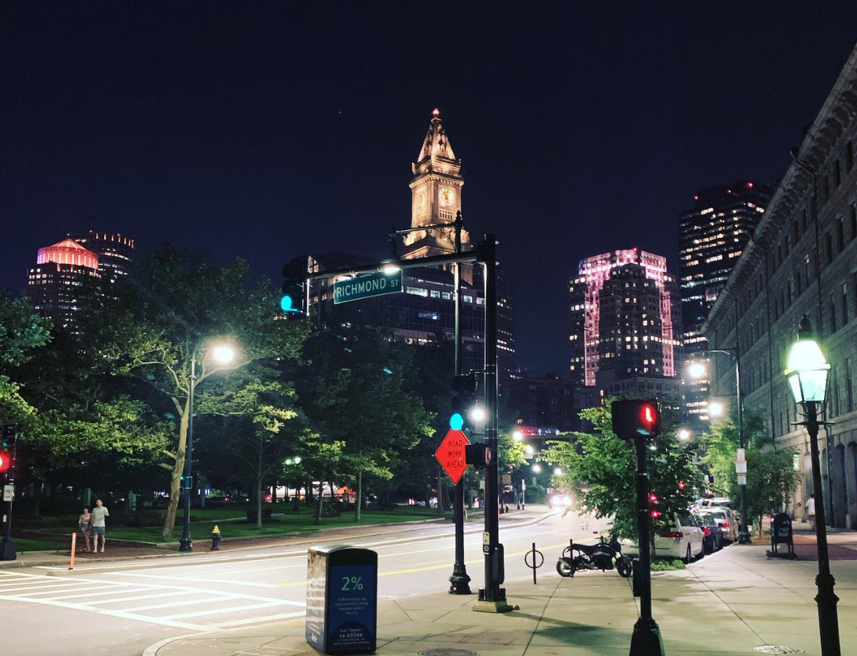 Downtown Boston lit up at night