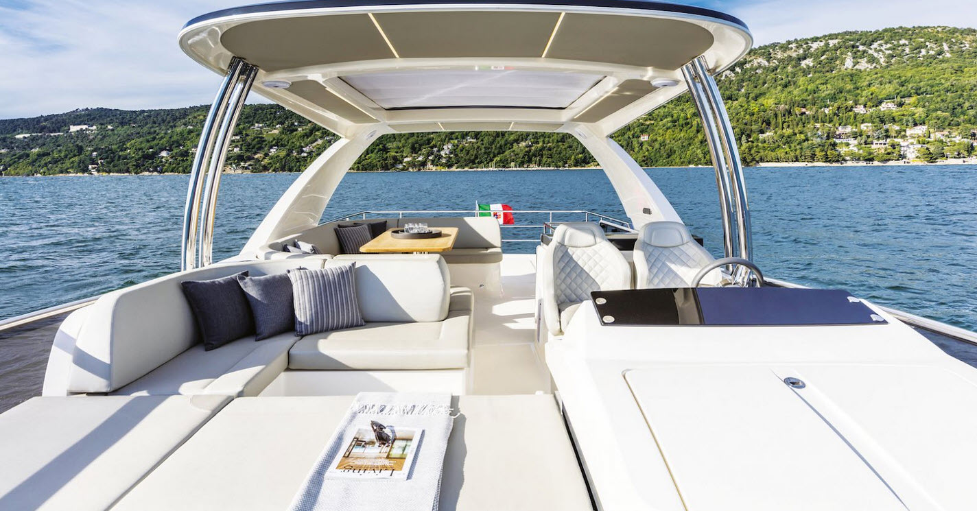 Flybridge seating on absolute yachts 58