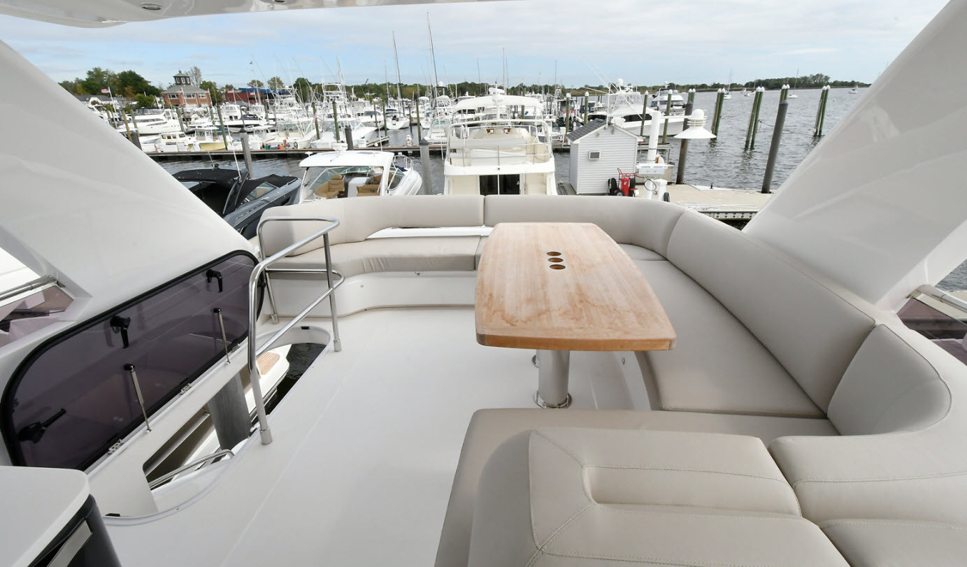 Flybridge seating area on princess 52