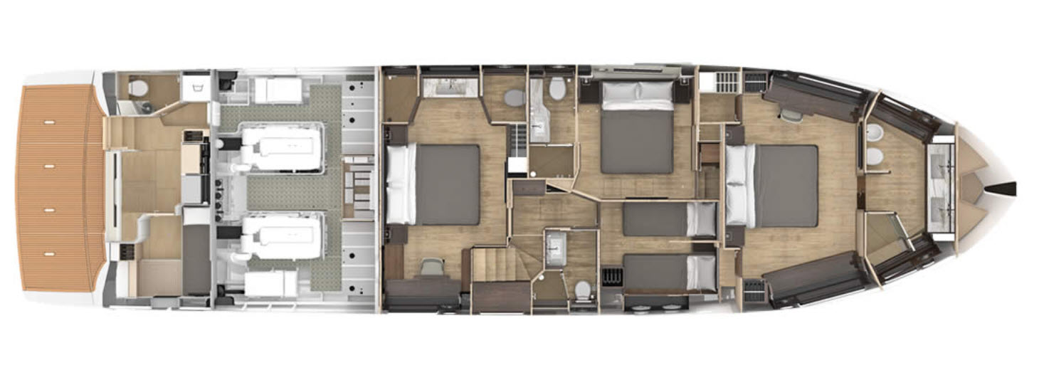 lower deck layout on the navetta 73