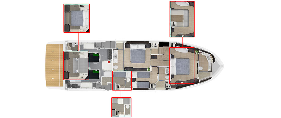layout of lower deck on navetta 64