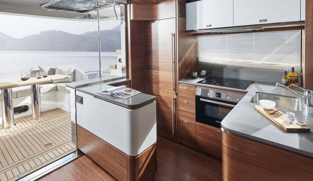 aft galley on the Princess 55 Flybridge