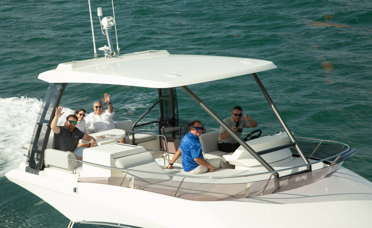 Enjoying a boat ride on a Prestige flybridge