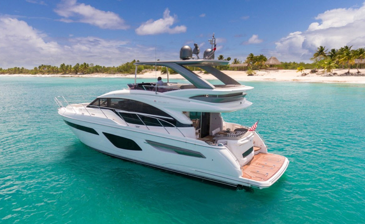 princess F55 yacht for sale at fort lauderdale boat show