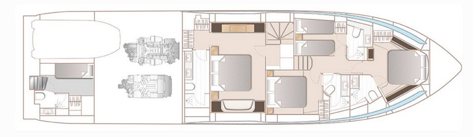 layout configuration of the princess yachts v78