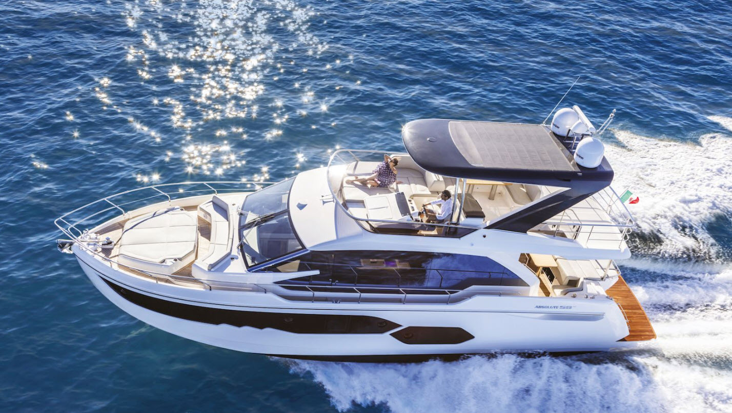Profile of the Absolute 58 flybridge