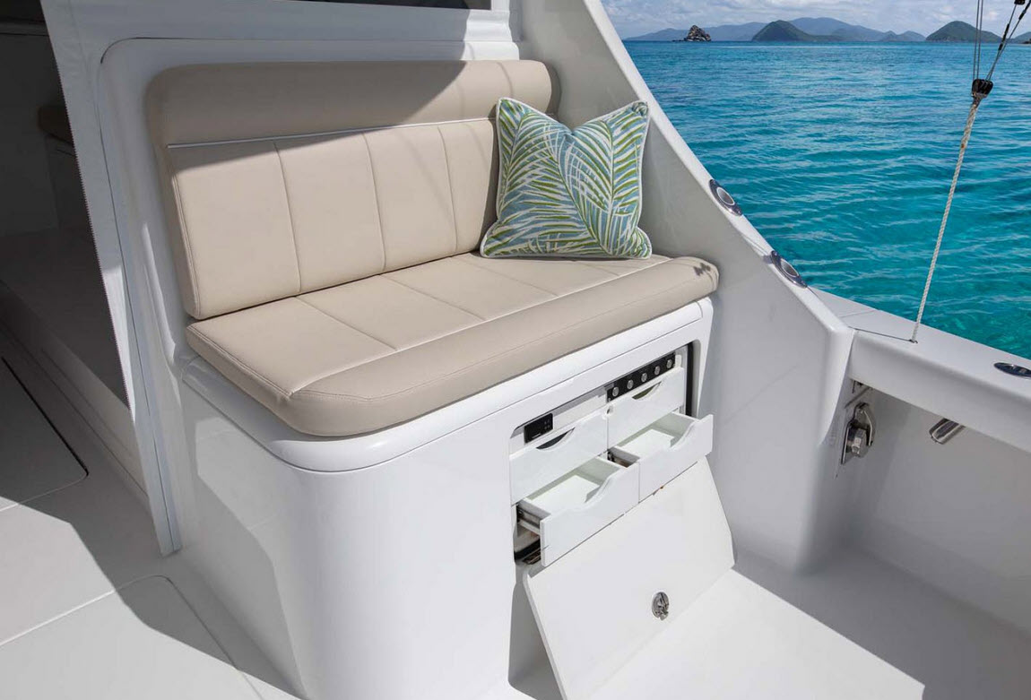 Viking 38 Billfish mezzanine seating tackle storage