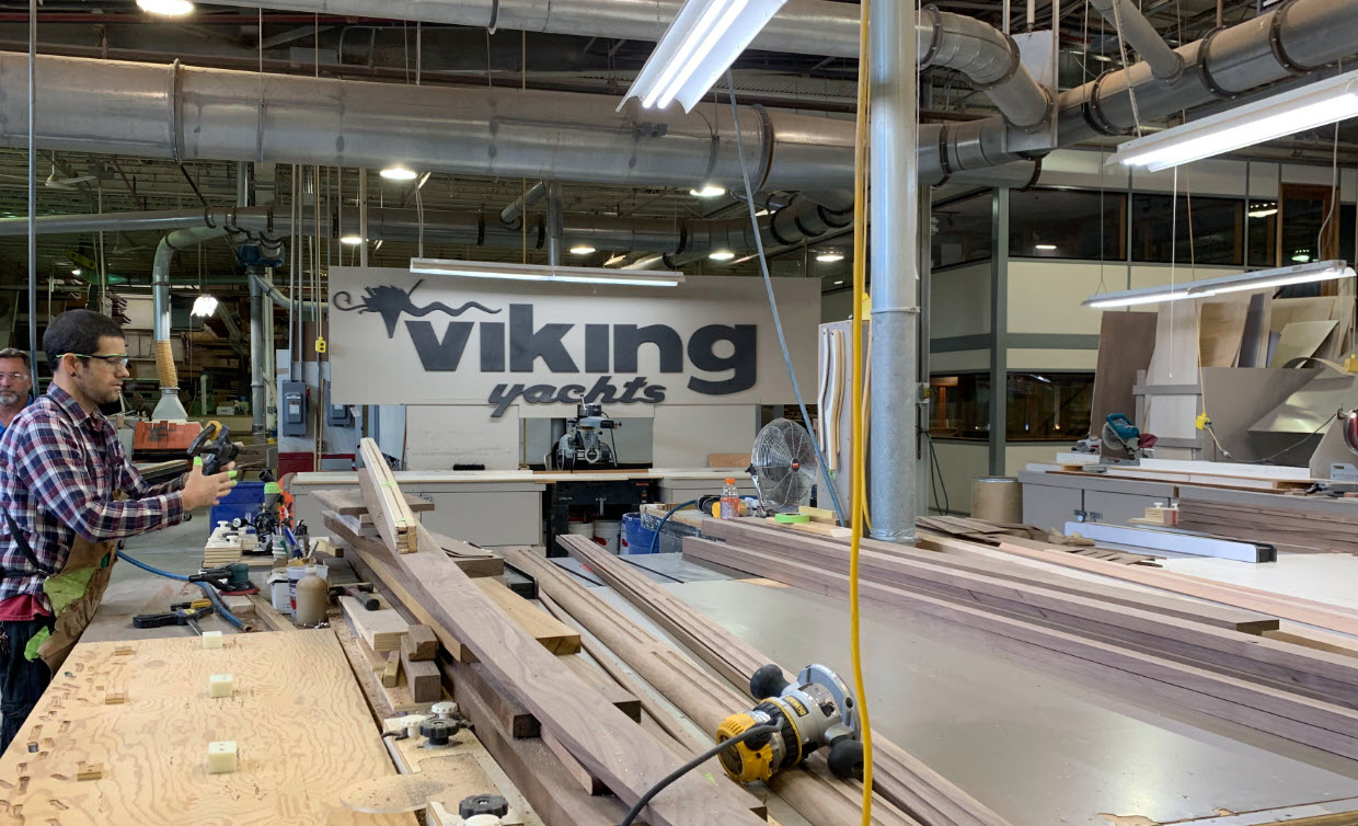 Viking Yachts factory wood shop