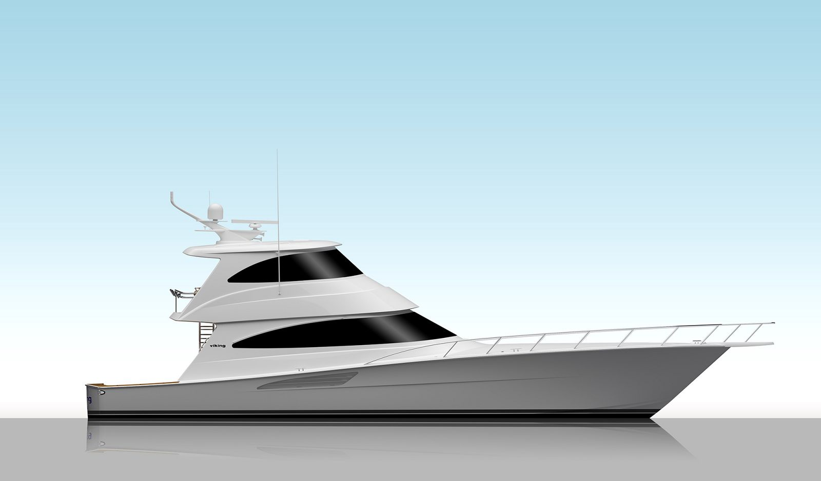 Viking Yachts 68 Enclosed Bridge Convertible Render