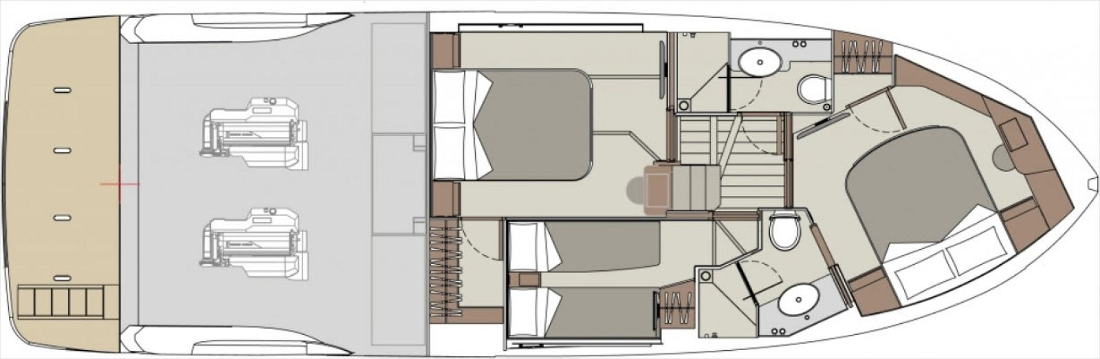 lower deck layout of absolute 47 flybridge yacht
