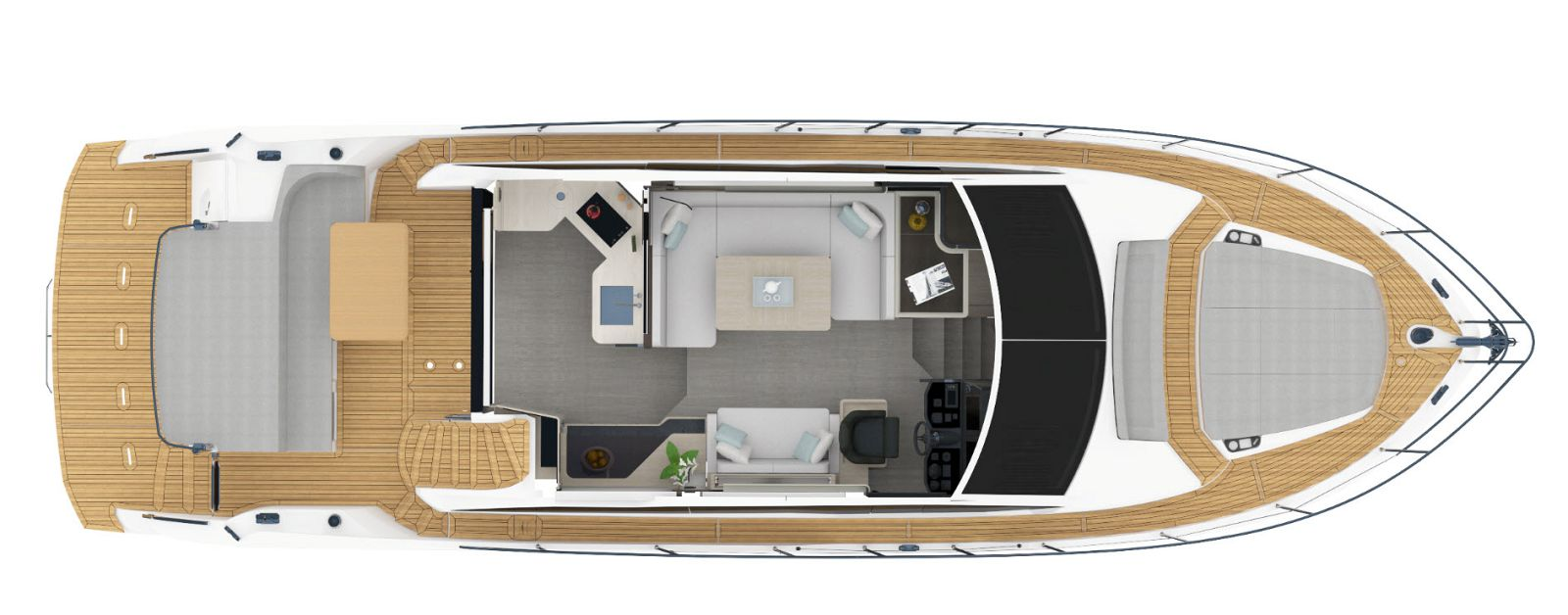 main deck layout of absolute 50 flybridge