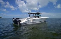Hydra-Sports 42 Black Powder Coated Hardtop White Hull