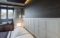 Absolute Yachts 64 Flybridge Bed Headline Leather Detail