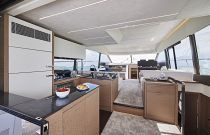 Prestige Yachts 590 FLY Galley Aft Salon Entry