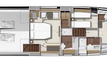 Prestige Yachts 590 Flybridge Accommodation Deck Layout 1
