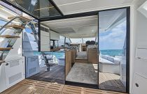 Prestige Yachts 590 Steel Salon Entry Sliding Door Access