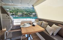 Prestige Yachts 680 FLY Private Cockpit Dining Area