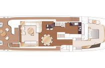 X95 Flybridge Layout with Salon and Wetbar