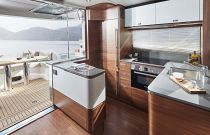 Galley aft on Princess F55