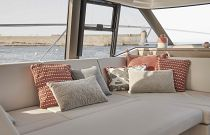 Salon couch on the Prestige Yachts 420