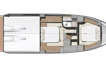 lower deck layout with 1 head on the prestige 420