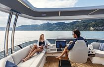 Relaxing on the absolute yachts navetta 68 flybridge