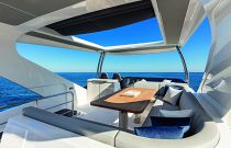 flybridge on absolute 62 with sunroof open