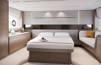Master stateroom of the Princess V55 Yacht