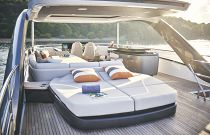 sunpads and seating on flybridge princess y85