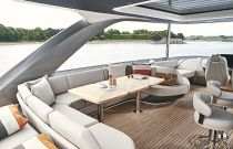 dining area with couches on flybridge