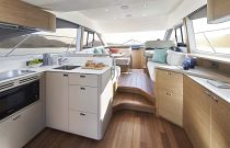 Salon and galley on Princess F45