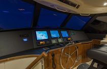 Viking Yachts 66EB Helm Electronics Night Image