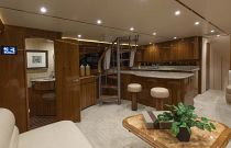 Viking Yachts 66 EB Salon Day Head Door Open