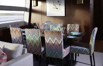 Princess Yachts 82 MY Dining Room Missoni Fabric