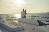 Princess Yachts 82 MY Portuguese Sofa bow sunset